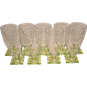 "RARE Set of 9 Seneca Stems Pattern # 903 Optic with Vaseline Glass Square Bottom 6"" Iced Tea Tumblers / Goblets"