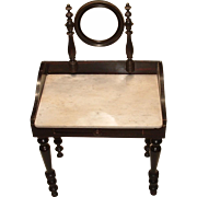 Antique French Rosewood Doll Vanity Table with Marble Top and Swivel Mirror
