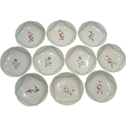 Haviland Limoges Berry Dish set of 10 on the Osier or Basketweave with Gorgeous Flowers 1876-1899