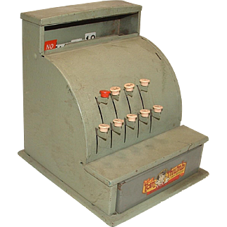 VINTAGE Tom Thumb Green Steel Metal Tin Play Cash Register Made By Register Western Stamping Co.
