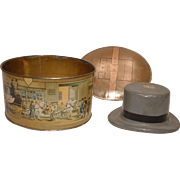 Vintage Miniature DOBBS Fifth Avenue Hat Box with Scenes of New York and Horses WITH Original TOP Hat