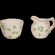 Vtg Set AYNSLEY Shamrock Swirl Clover Creamer & Open Sugar Bowl w Gold Trim