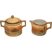 Vintage Beautiful Nippon Hand Painted Vintage Handled Sugar Bowl with matching Lid and Creamer - BEAUTIFUL