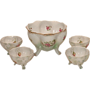 Vintage Lovely Antique Porcelain Footed Berry Bowl with Four Individual Bowls
