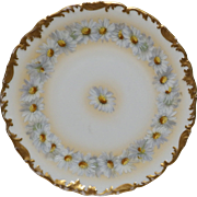 """Vintage T & V Limoges DAISY CHAIN 9.25"""" Plate - Daisy Flowers Hand Painted with a Gold Trim - Gorgeous"""