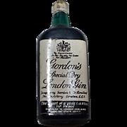 Vintage Miniature Green Glass Gordon's Gin Bottle 1:12 scale