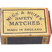 Vintage Miniature Safety Match Box - Mugs' and Muff's Safety Matches