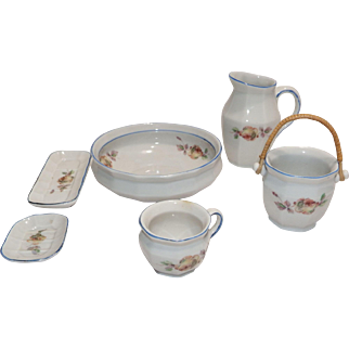Antique Doll Porcelain Chamber Set Picther, Basin, Chamber Pot etc 6 Pieces