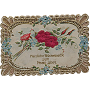 Antique Victorian German New Year's Die Cut Scrap Fold Out