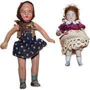 Two Antique Bisque Dollhouse Dolls from Germany