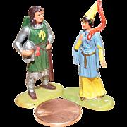 Vintage Elastolin Figure 40 mm Sir Gawain & Princess Aleta