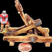Vintage Elastolin Figure 40 mm Catapult #9888-4 w/ Operator Carrying Rock  #9836-4