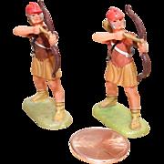 Vintage Elastolin Figure 40 mm (2) Archers Saxon Norman Battle