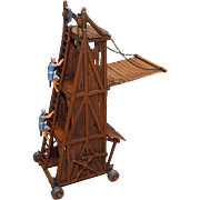 Vintage Elastolin Figure 40 mm Siege Tower #9885-4 w/ Warriors Climbing