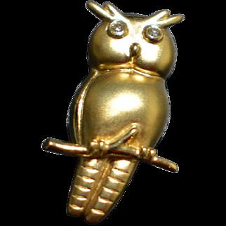Vintage 18 Karat Yellow Gold Owl Pin with Brilliant Cut Diamond Eyes 6.6 Grams