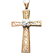 Vintage 14K Yellow Gold Cross with Four Small Brilliant Cut Diamond 1.5 Grams