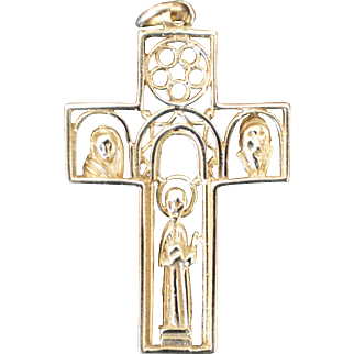 Vintage one-of-a-kind 14KT Yellow Gold Cross Carved Design 5.1 Grams