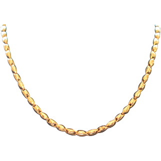 """Chimento Vintage Italian Solid 18K Yellow Gold Choker Necklace 17"""" Long 15.3 Grams"""