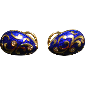 Fabergé Victor Mayer 18K Yellow Gold Enamel & Diamond Earrings Limited Edition #78/300 10.4 Grams
