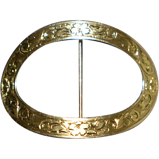 Vintage 14KT Yellow Gold Flowered Belt Buckle Marked 14K SBM 49580 5.7 Grams