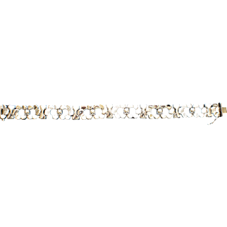 14KT White Gold Flowered Vintage Bracelet 20 Grams