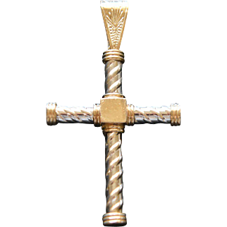 Vintage 10KT one-of-a-kind Yellow and White Gold Cross Nice Size 9.9 Grams