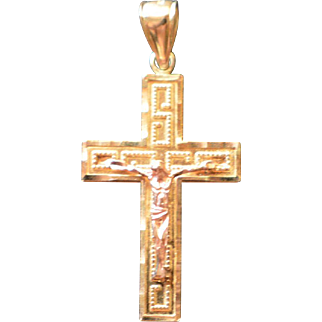 Vintage 14K Yellow Gold Cross with Rose Gold Jesus 2.7 Grams