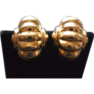 Vintage 14KT Yellow Gold Clamshell Style Clip-on Earrings 5.9 Grams