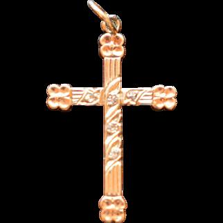 Vintage 10KT White and Rose Gold Five Brilliant Diamond Cross .9 Grams