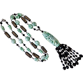 """Qinghai Jade and Black Faceted Glass Artisan Tassel Necklace, 33"""""""