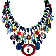 Eclectic Caribbean Carnival Artisan Multi Colored Bib Statement Necklace