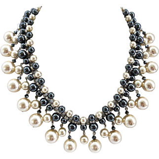 Glass Pearls and Hematite Statement Bib Necklace