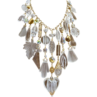 Big Bold Lucite and Crystal Statement Bib Cascade Necklace