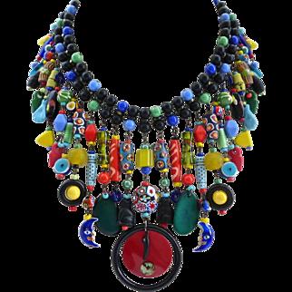 Eclectic Caribbean Carnival Statement Bib Artisan Necklace