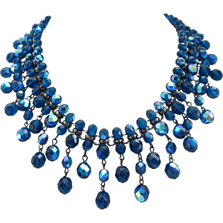 Vintage Inspired Artisan Blue Bib Necklace