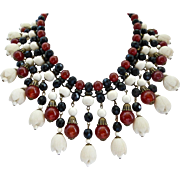 Carnelian, Jet, and Vintage Celluloid Beads Statement Bib - Red Tag Sale Item