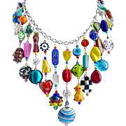 Artisan Statement Bib Necklace of Eclectic Multicolored Beads