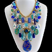 Big Bold Beautiful Cobalt, Aqua Glass and Crystal Artisan Bib Necklace