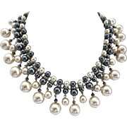 Faux Glass Pearls and Hematite Statement Bib Necklace with Earrings