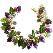 Purple and Green Glass Grapes Artisan Bracelet