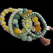 Quartet  of  Artisan Stretch Gemstone Bracelets
