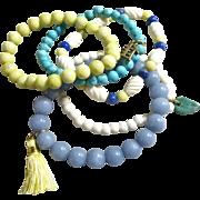 Set of Five Semi Precious Artisan Stretch Bracelets