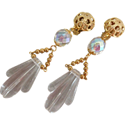 "Lucite and Crystal Drop Earrings......""Reserved for Diane"""
