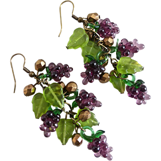 Purple Glass Grapes and Leaves Artisan Cluster Earrings, One of a Kind