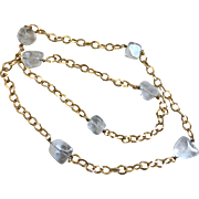 Vintage Quartz Nuggets Station Necklace with Gold Tone Chain,  36 Inches