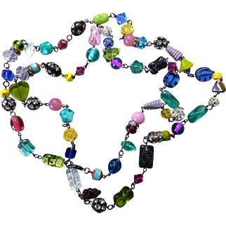 "Long Multi Colored Glass and Crystal 42"" Artisan Necklace"