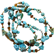 Long Artisan Turquoise, Magnesite and Glass Necklace, 58 Inches