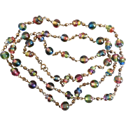 Vintage Czech Multi Colored Artisan Beaded Necklace,  42 Inches