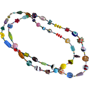Long Artisan Multicolored Glass Bead Necklace, 36""
