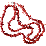 Red Branch Coral Necklace, 34 Inches